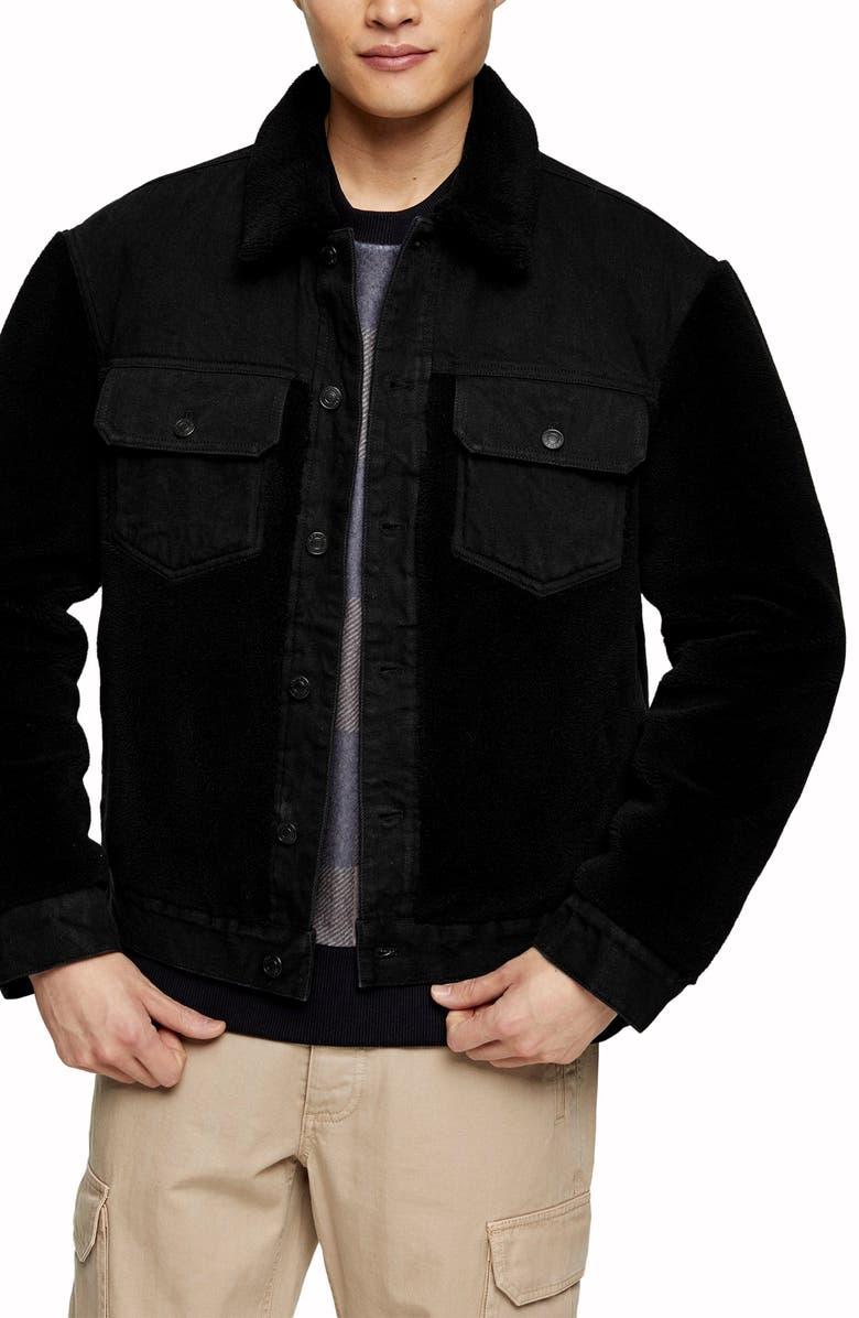TOPMAN Cut & Sew Fleece & Denim Jacket, Main, color, BLACK