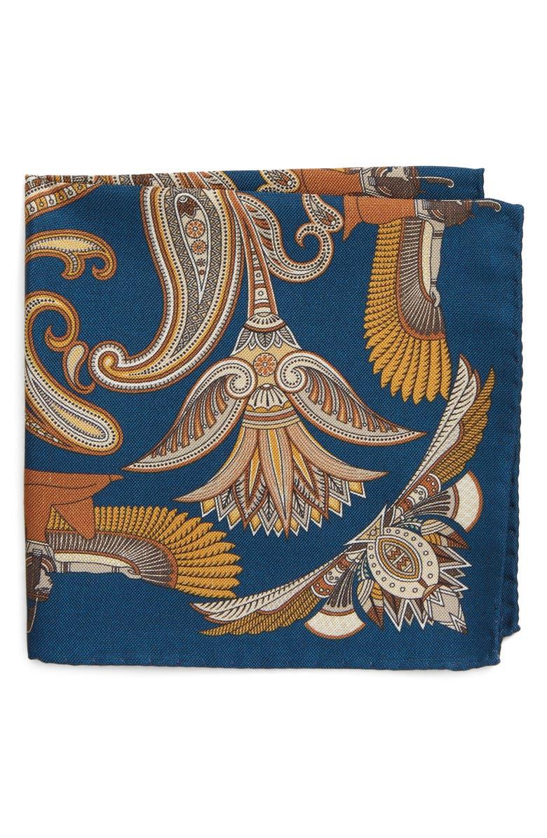 ETON Print Silk Pocket Square, Main, color, NAVY