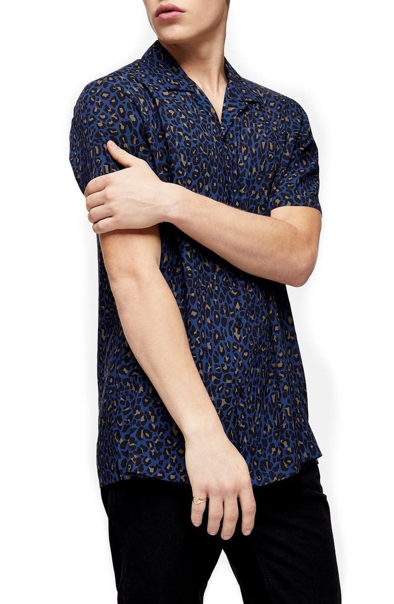 TOPMAN Leopard Print Short Sleeve Button-Up Camp Shirt, Main, color, BLUE MULTI
