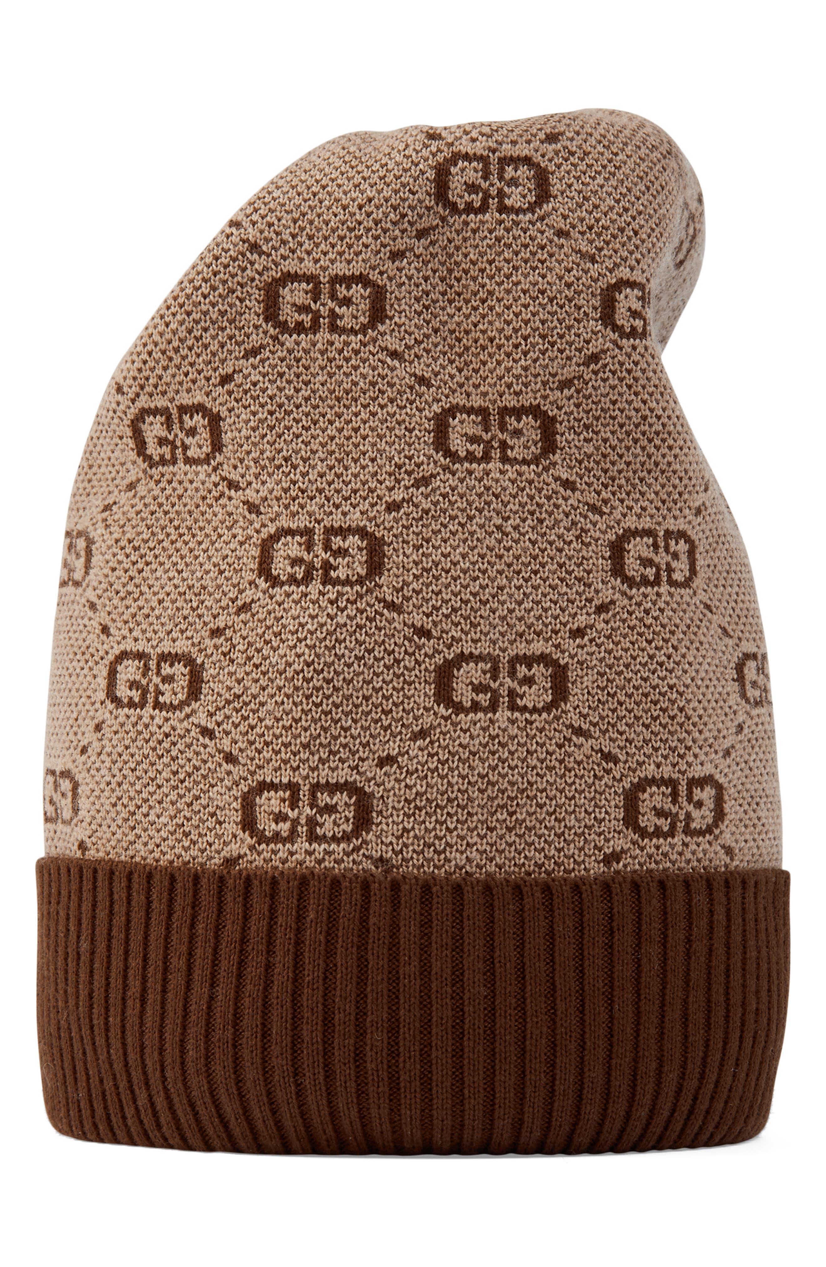 Toddler Gucci Logo Pattern Wool  Cotton Hat  Beige