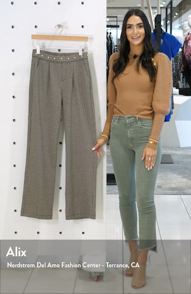 Studded Waist Check Wide Leg Pants, sales video thumbnail