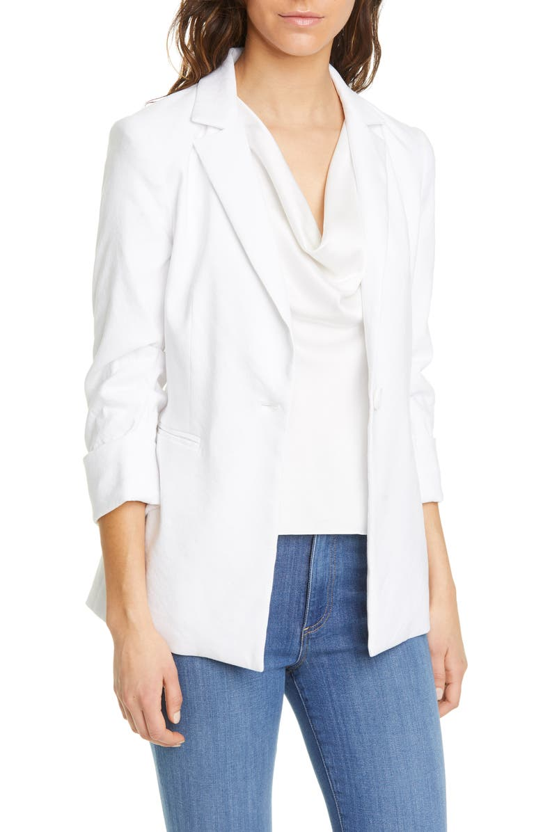 ALICE + OLIVIA Jonelle Peplum Linen Blend Blazer, Main, color, 100
