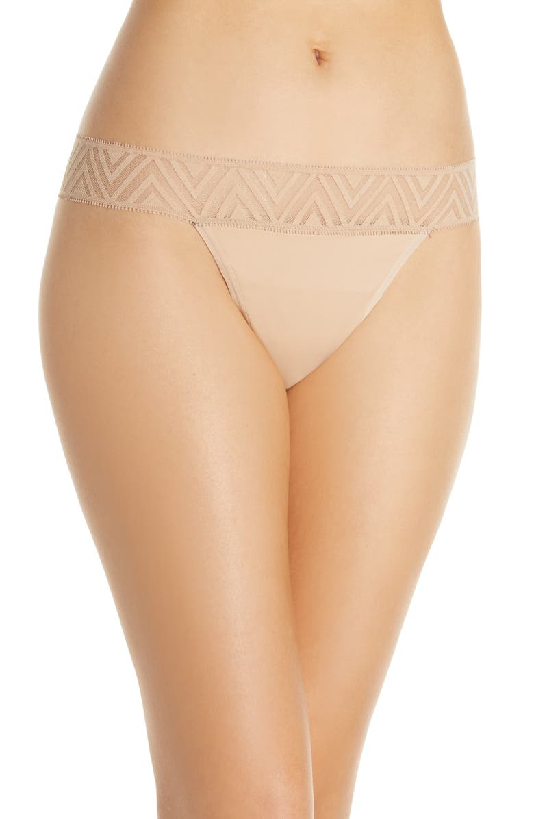 THINX Lace Period Thong, Main, color, BEIGE