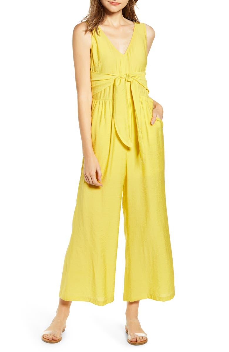 BP. Tie Waist Wide Leg Jumpsuit, Main, color, YELLOW LIGHT
