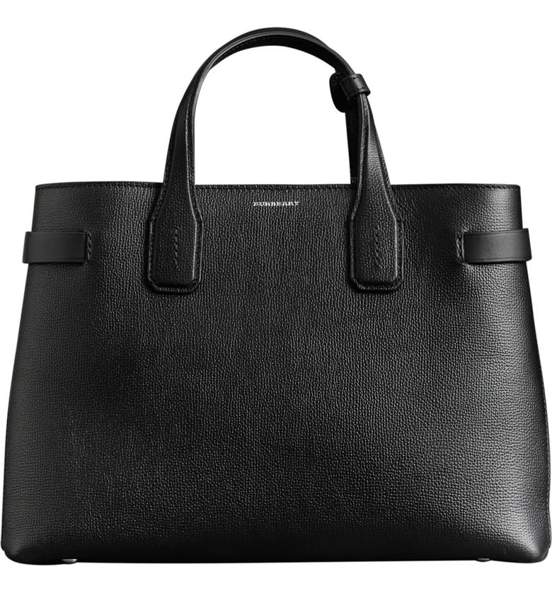 BURBERRY Medium Banner Leather Tote, Main, color, 001