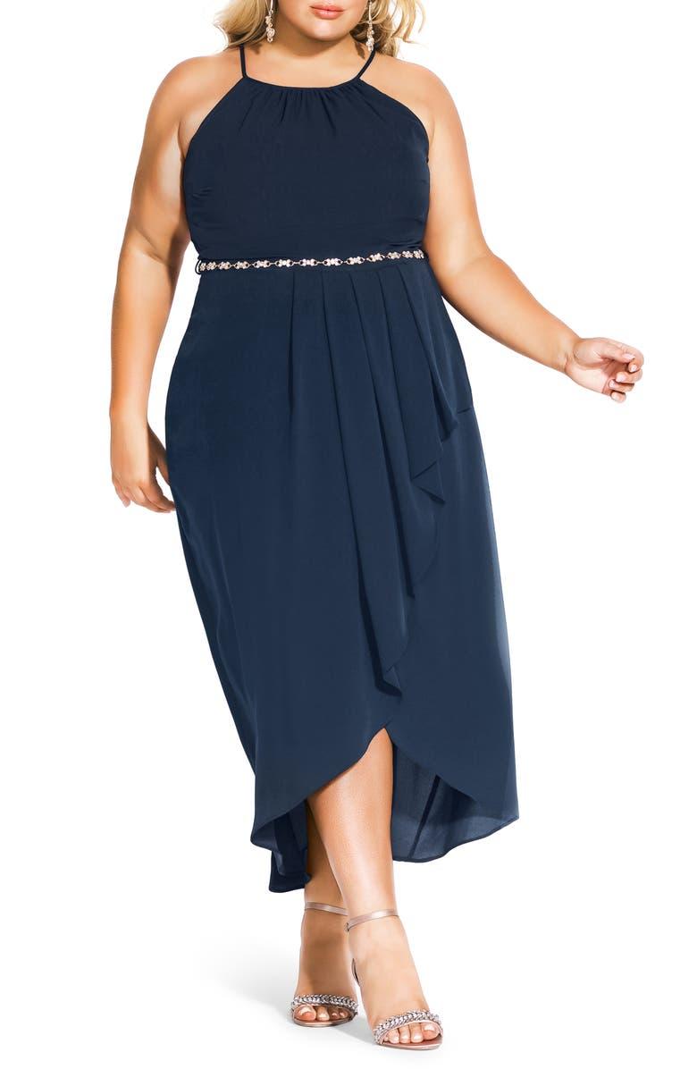 CITY CHIC Lovestruck Maxi Dress, Main, color, NAVY