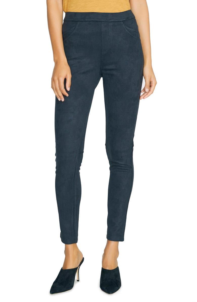 SANCTUARY Grease Faux Suede Legging Pants, Main, color, BLACK