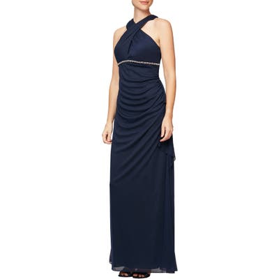 Alex Evenings Halter Neck Ruched Gown, Blue