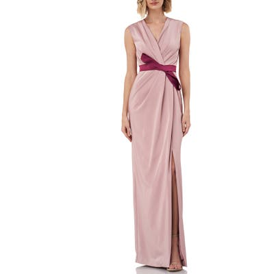 Kay Unger Contessa Stretch Faille Column Gown, Pink