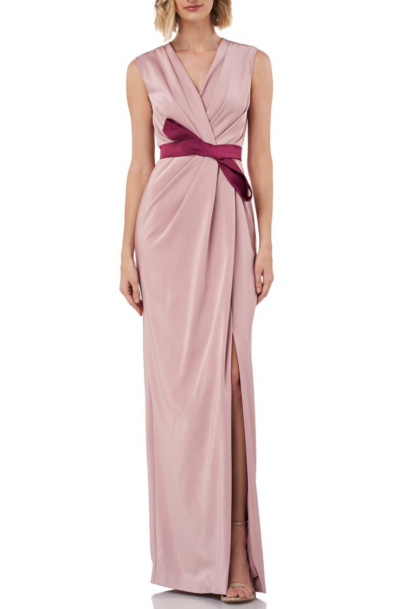 KAY UNGER Contessa Stretch Faille Column Gown, Main, color, MAUVE