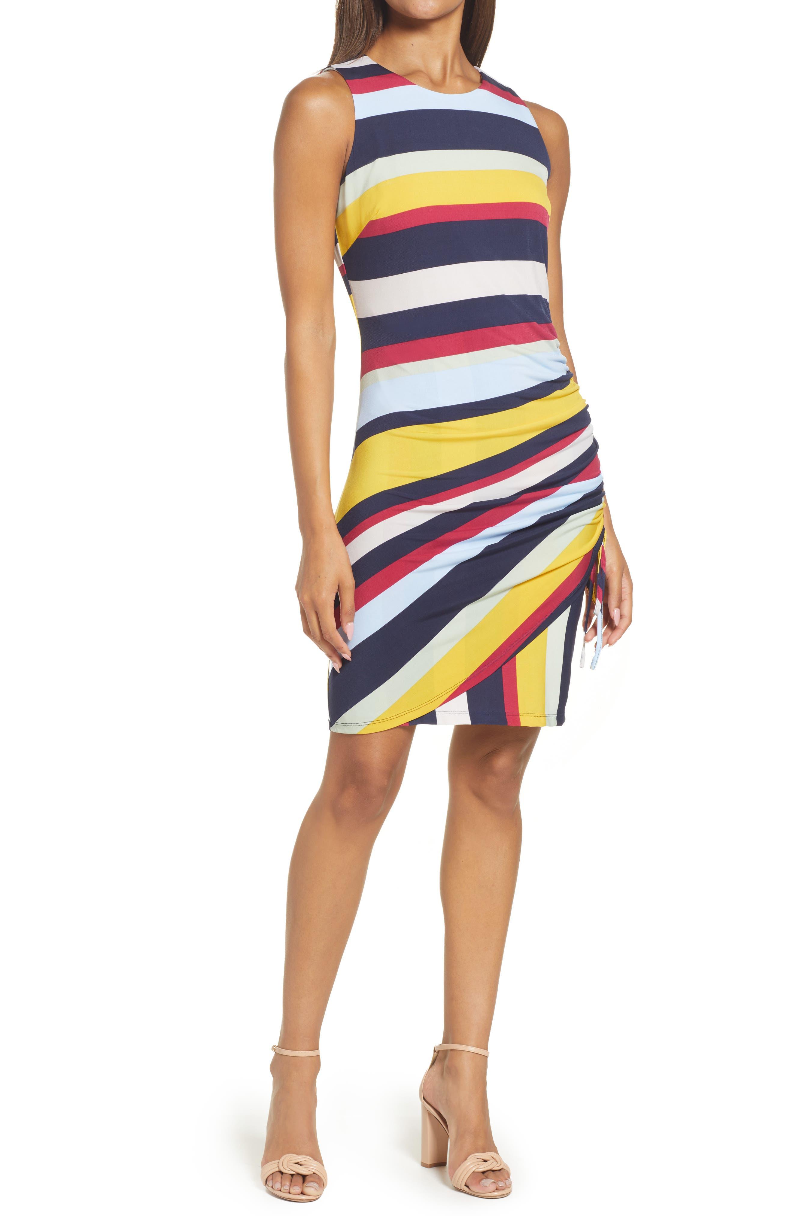 Stripe Side Ruched Knit Dress