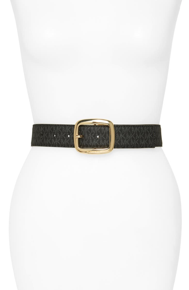 MICHAEL MICHAEL KORS Logo Reversible Calfskin Leather Belt, Main, color, BLACK/ ACORN