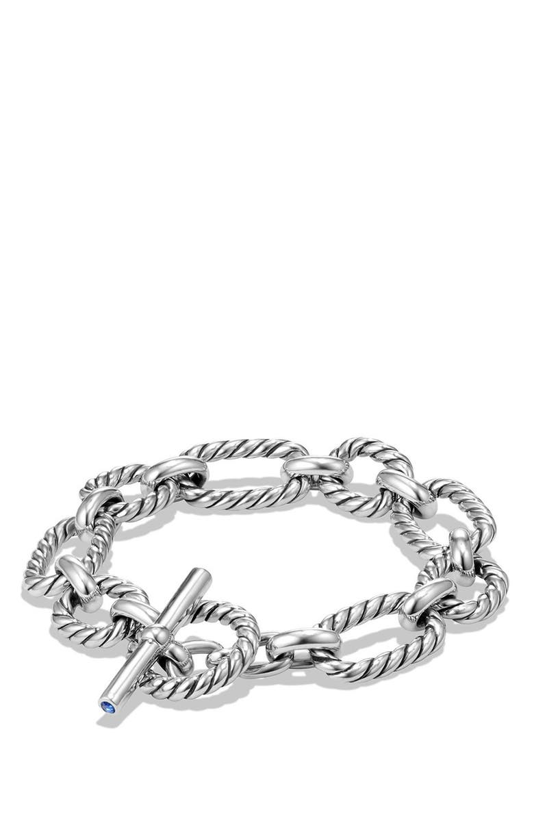 DAVID YURMAN 'Chain' Cushion Link Bracelet with Blue Sapphires, Main, color, SILVER/ BLUE SAPPHIRE