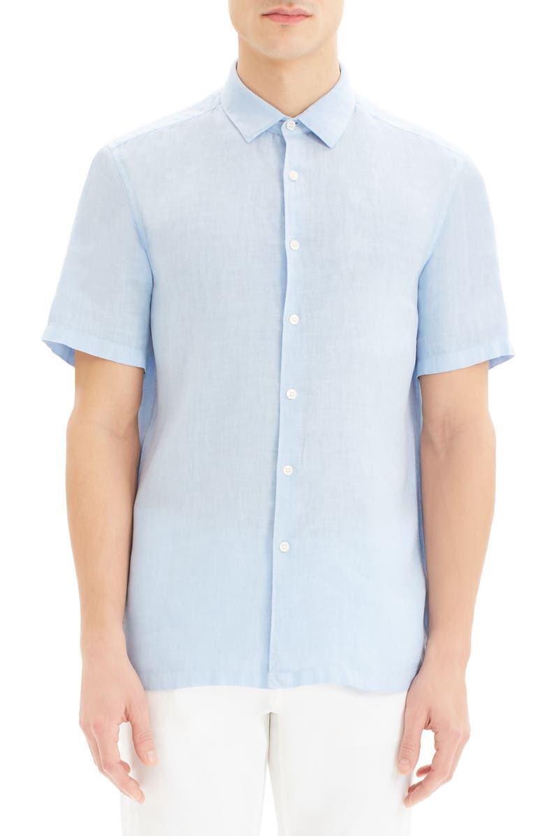THEORY Irving Slim Fit Short Sleeve Button-Up Linen Sport Shirt, Main, color, SKYLIGHT