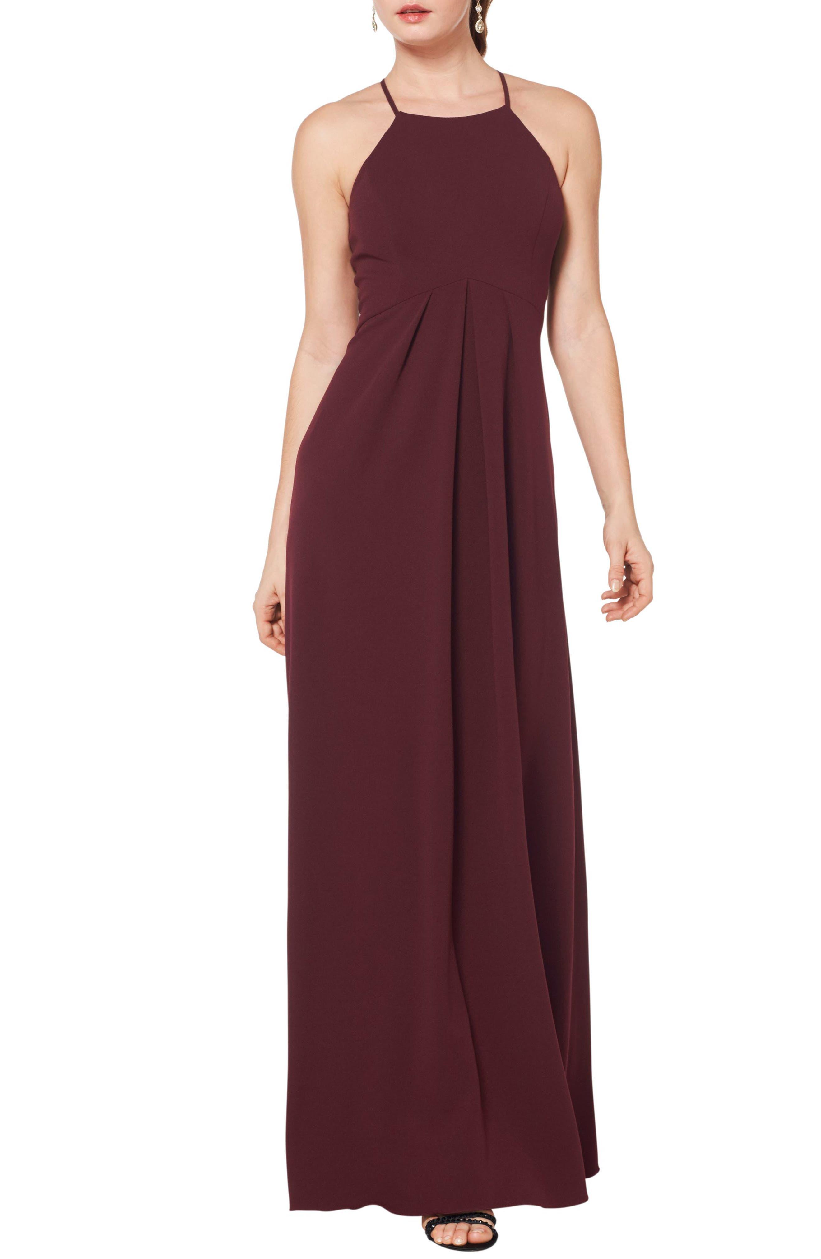 #levkoff Halter Crepe A-Line Gown, Burgundy