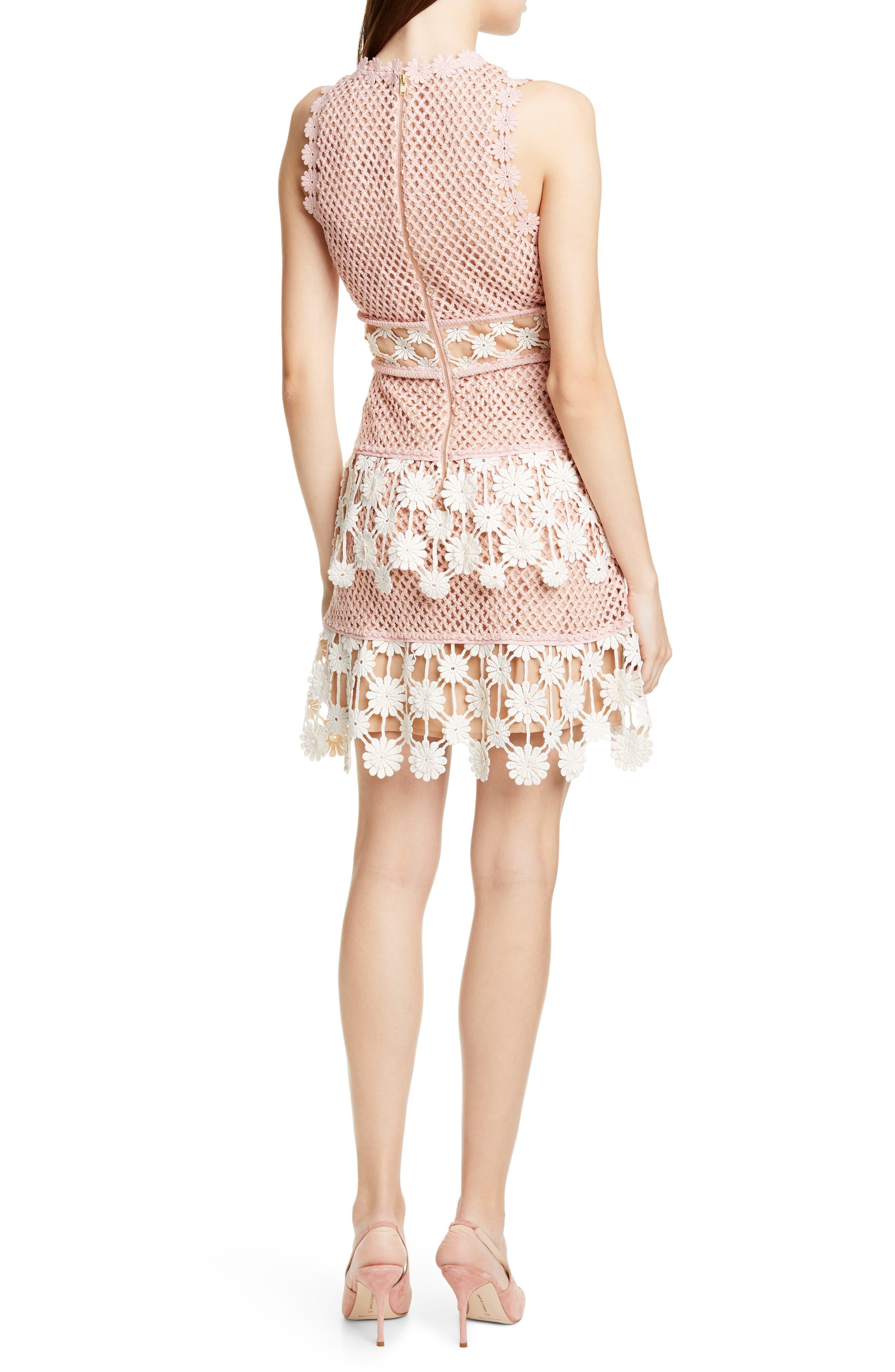 ,                             3D Floral Crochet Lace Minidress,                             Alternate thumbnail 2, color,                             PINK ECRU