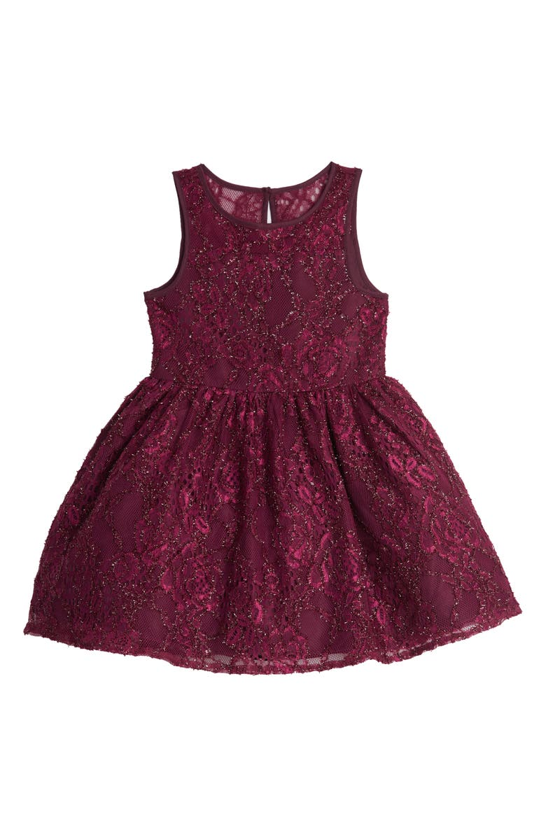 PIPPA & JULIE Illusion Shimmer Lace Party Dress, Main, color, WINE