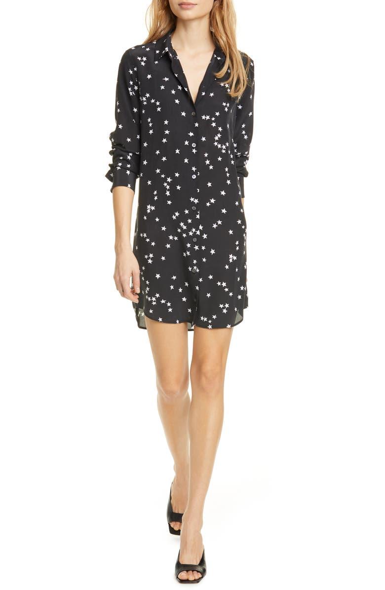 EQUIPMENT Long Sleeve Star Print Silk Shirtdress, Main, color, BLACK/ WHITE STAR