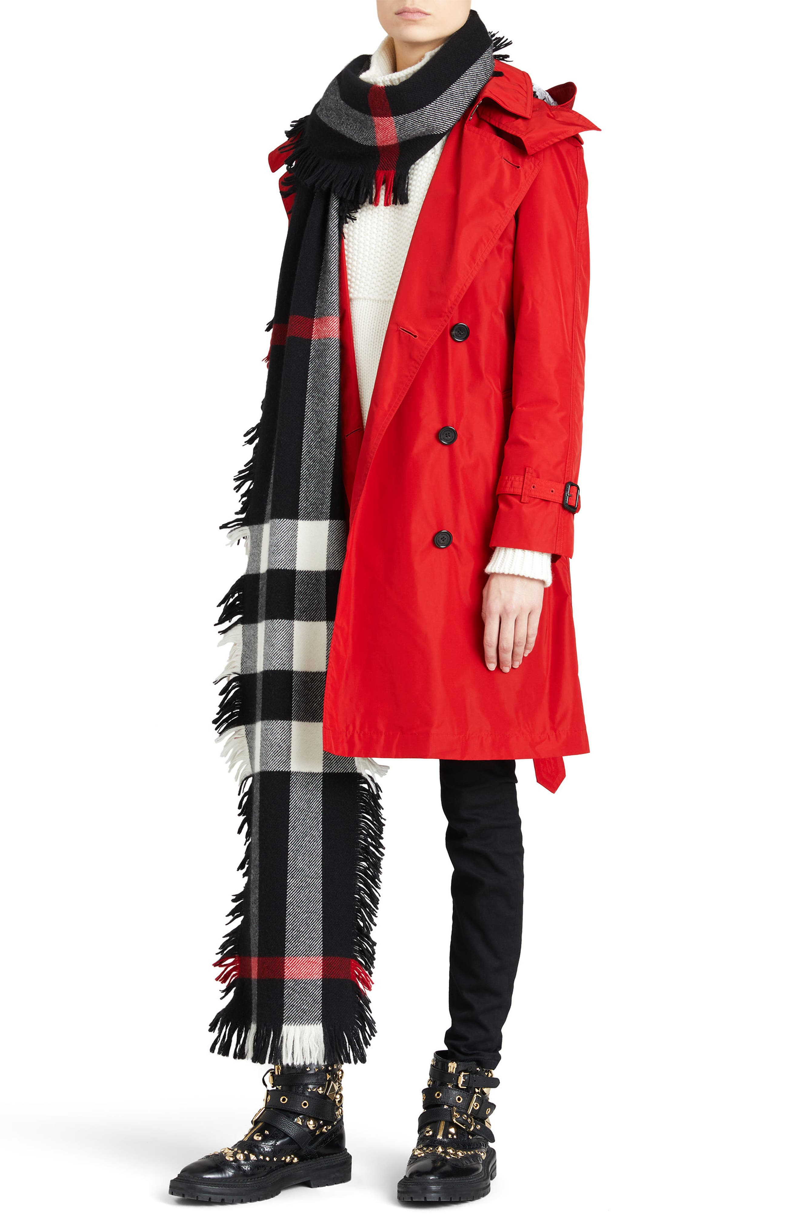 ,                             Amberford Taffeta Trench Coat with Detachable Hood,                             Alternate thumbnail 8, color,                             MILITARY RED