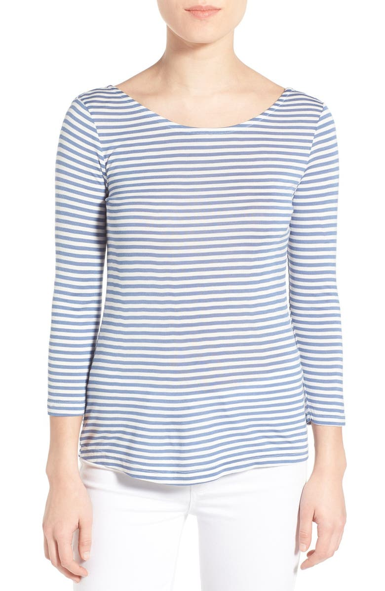 CUPCAKES AND CASHMERE 'Wink' Stripe Scoop Neck Top, Main, color, 400