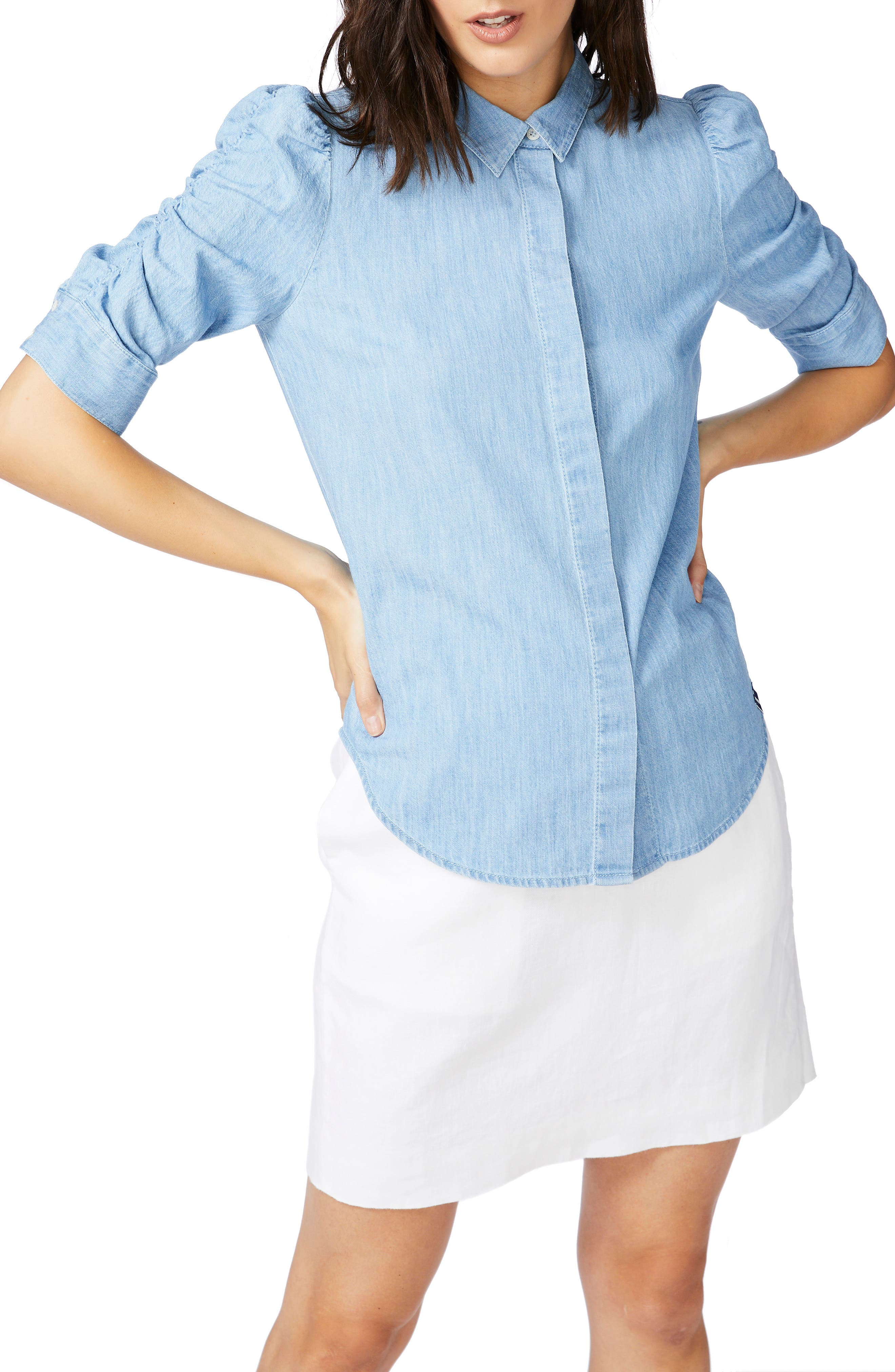 Ruched Sleeve Denim Shirt
