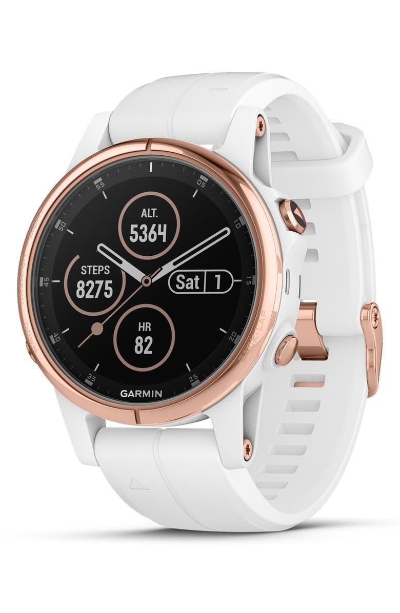 GARMIN fenix<sup>®</sup> 5S Plus Sapphire Premium Multisport GPS Watch, 42mm, Main, color, ROSE GOLD/ WHITE