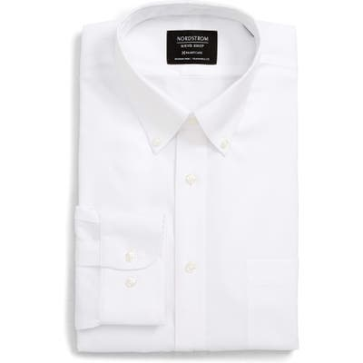 Nordstrom Shop Smartcare(TM) Traditional Fit Pinpoint Dress Shirt, 5.5 32/33 - White