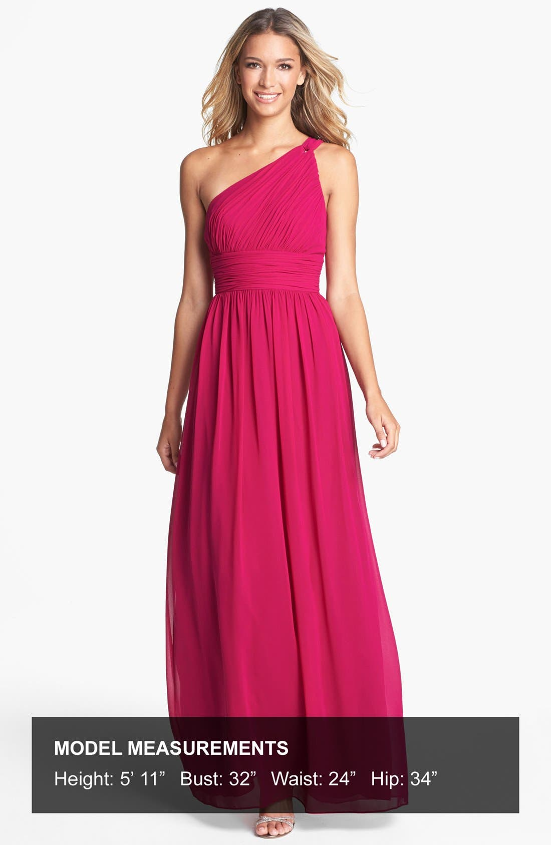 ,                             'Rachel' Ruched One-Shoulder Chiffon Gown,                             Alternate thumbnail 102, color,                             649