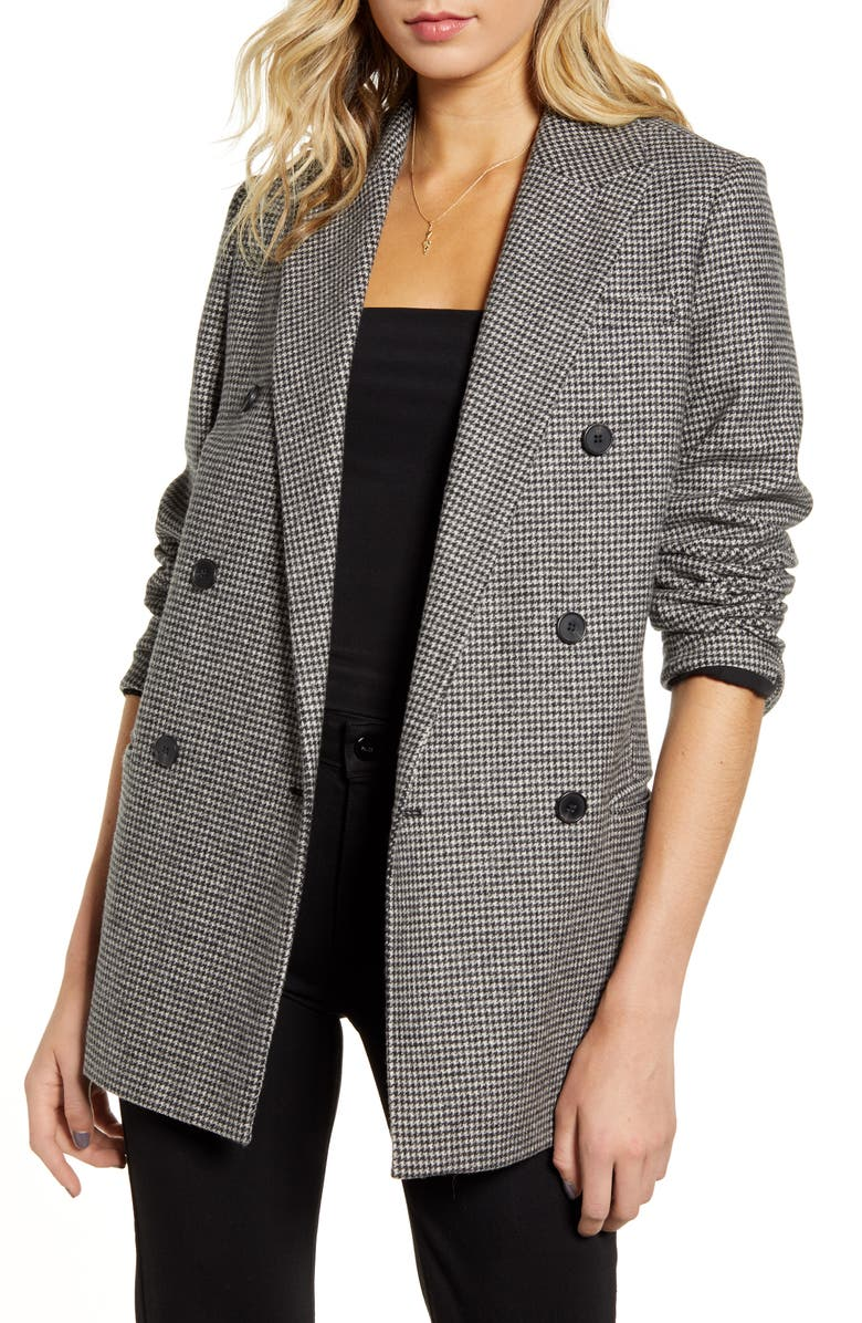 ALLSAINTS Astrid Puppytooth Check Double Breasted Wool Blend Blazer, Main, color, BLACK/ WHITE