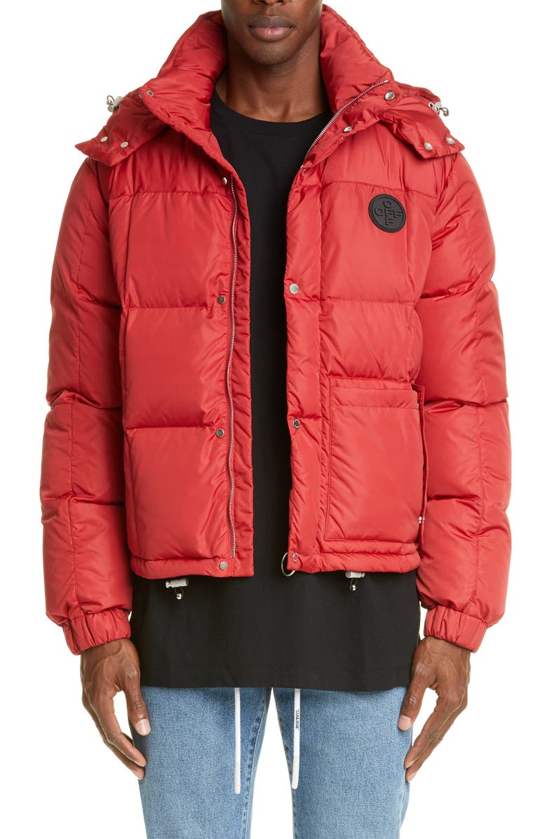OFF-WHITE Puffer Jacket, Main, color, RED