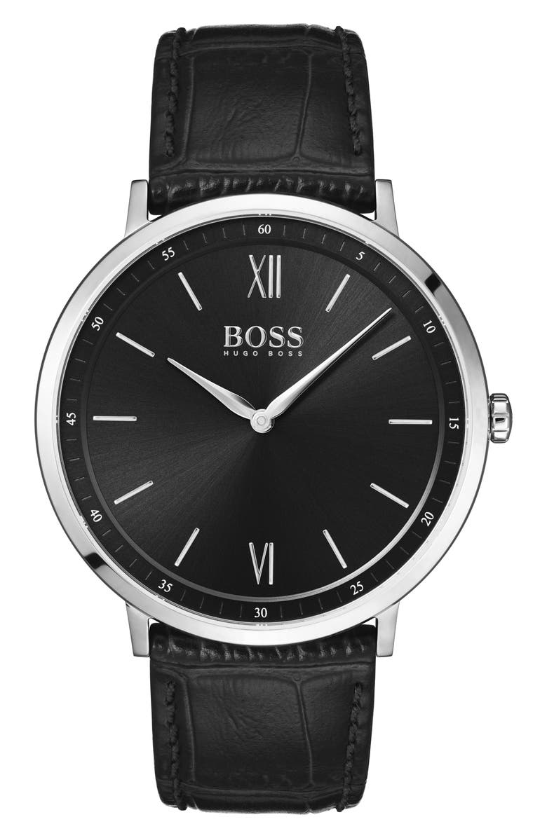 BOSS Essential Ultra Slim Leather Strap Watch, 40mm, Main, color, BLACK