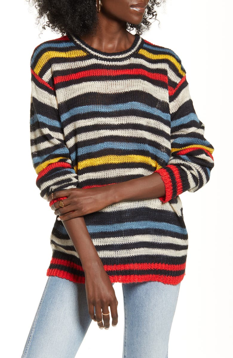 VOLCOM Bowrain Stripe Sweater, Main, color, MULTI
