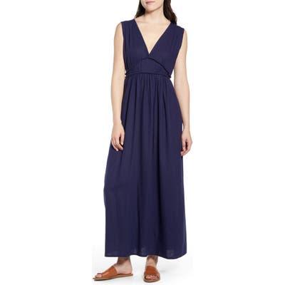 Petite Caslon Favorite Linen Blend Maxi Dress, Blue