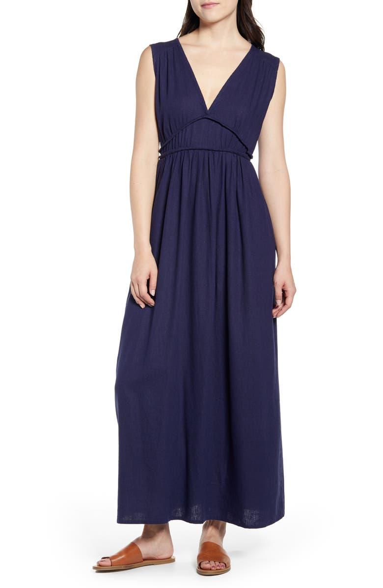 CASLON<SUP>®</SUP> Favorite Linen Blend Maxi Dress, Main, color, NAVY PEACOAT