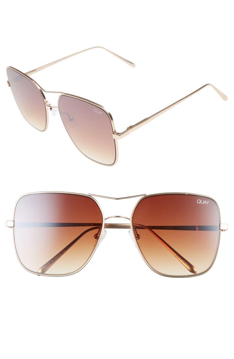 QUAY AUSTRALIA Stop & Stare 58mm Square Sunglasses, Main, color, 218