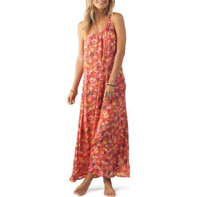 Rip Curl Meadowbrook Floral Print Maxi Dress, Red