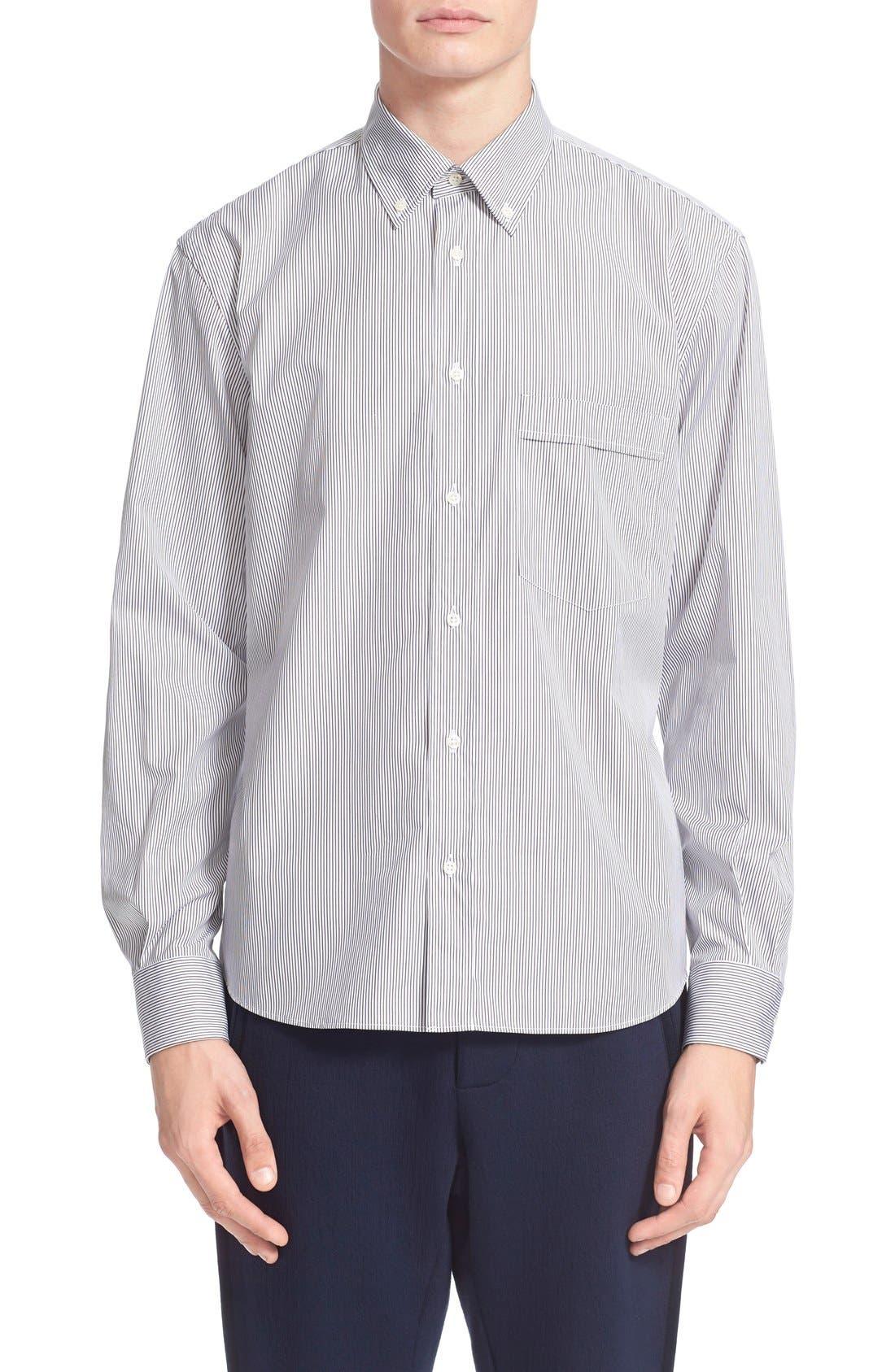 ,                             Trim Fit Stripe Shirt,                             Main thumbnail 1, color,                             100