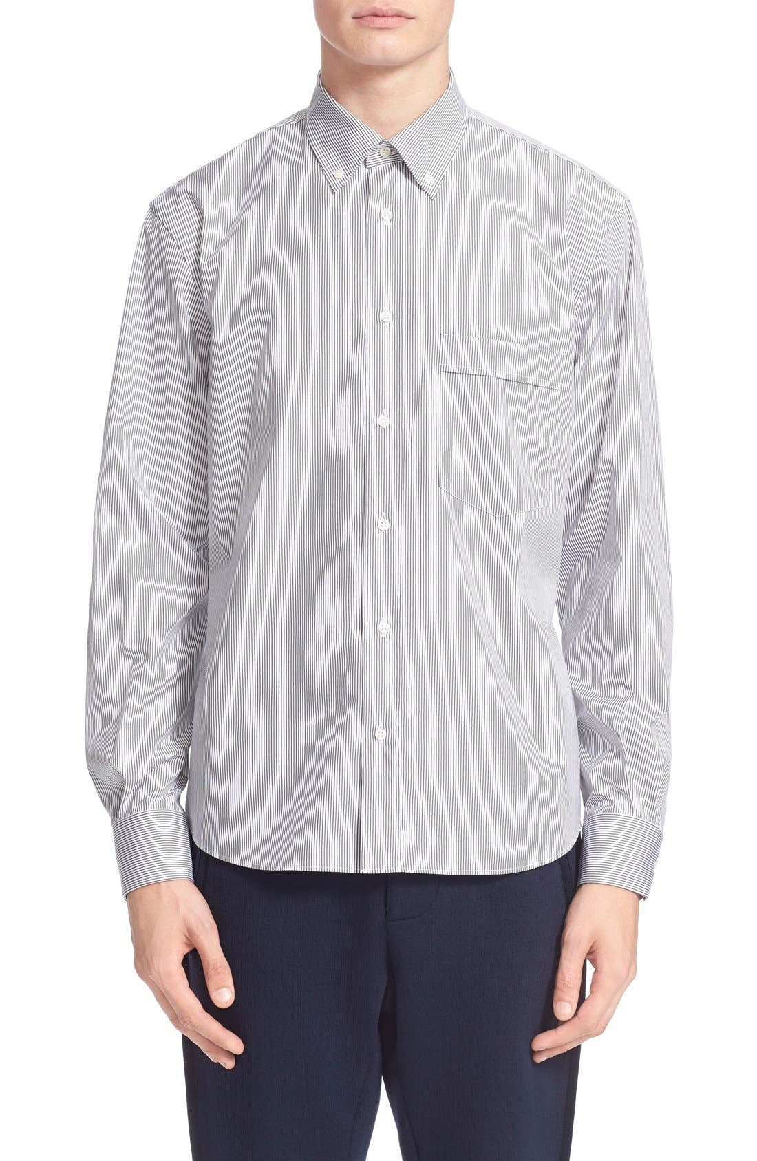 Trim Fit Stripe Shirt, Main, color, 100