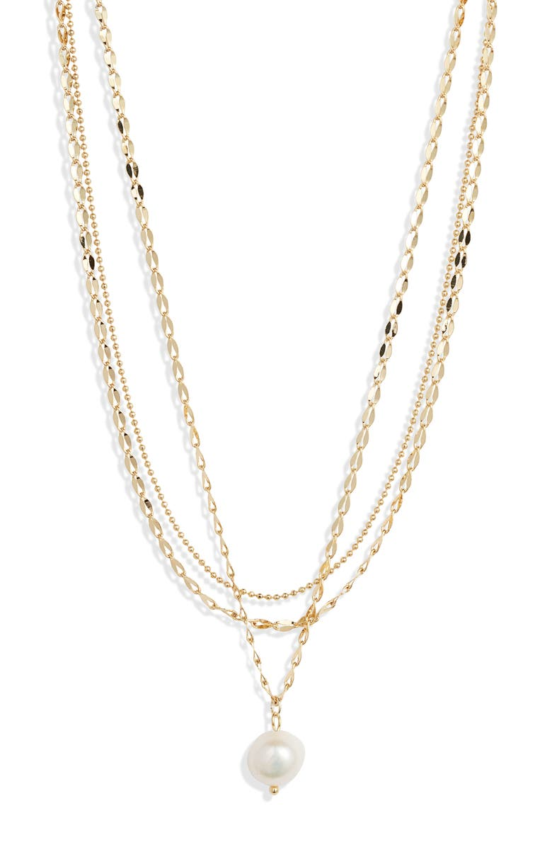 JULES SMITH Layered Imitation Pearl Necklace, Main, color, GOLD