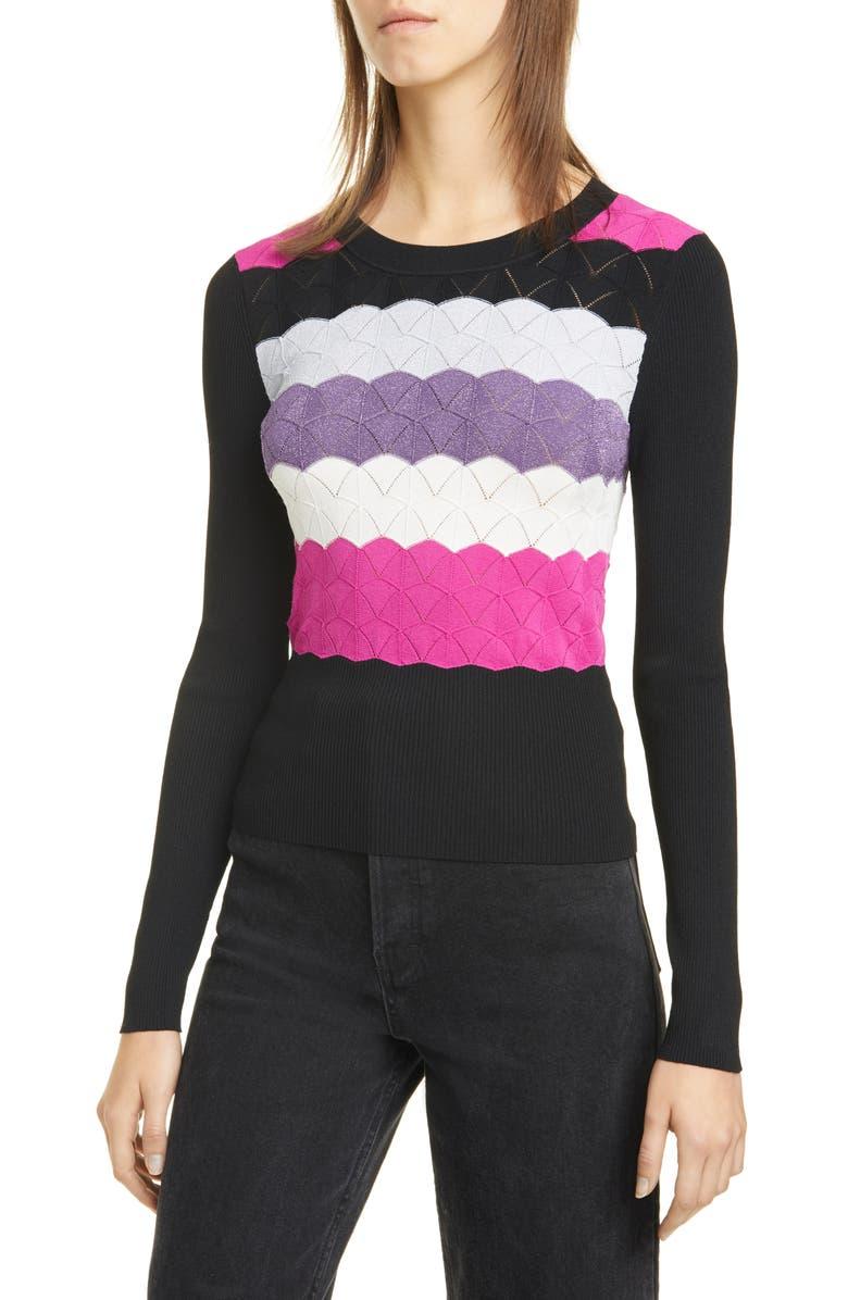 CINQ À SEPT Skylar Sweater, Main, color, PINK RUBY/MULTI