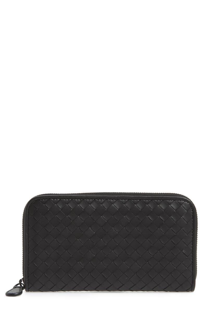 BOTTEGA VENETA Leather Zip Around Wallet, Main, color, 001