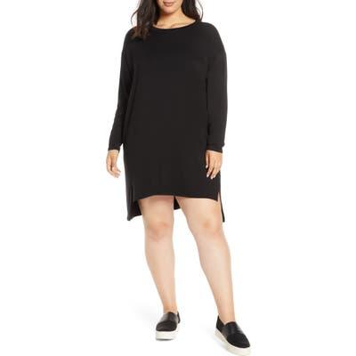 Plus Size Eileen Fisher Long Sleeve Drop Tail Hem Shift Dress, Black