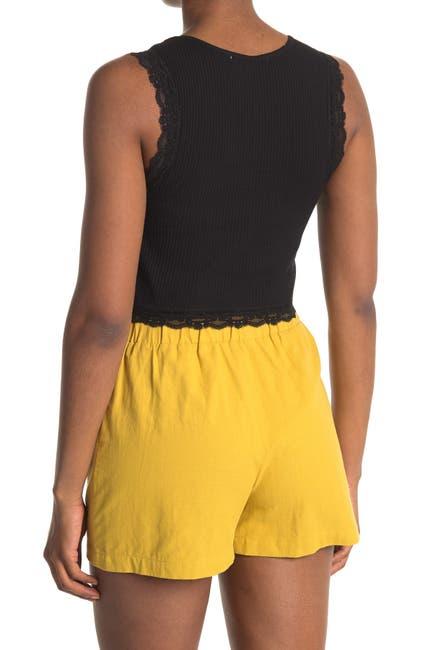 Image of GOOD LUCK GEM Lace Trim Rib Knit Tank Top