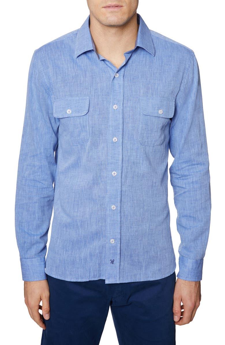 HICKEY FREEMAN Regular Fit Cotton & Linen Shirt, Main, color, BLUE