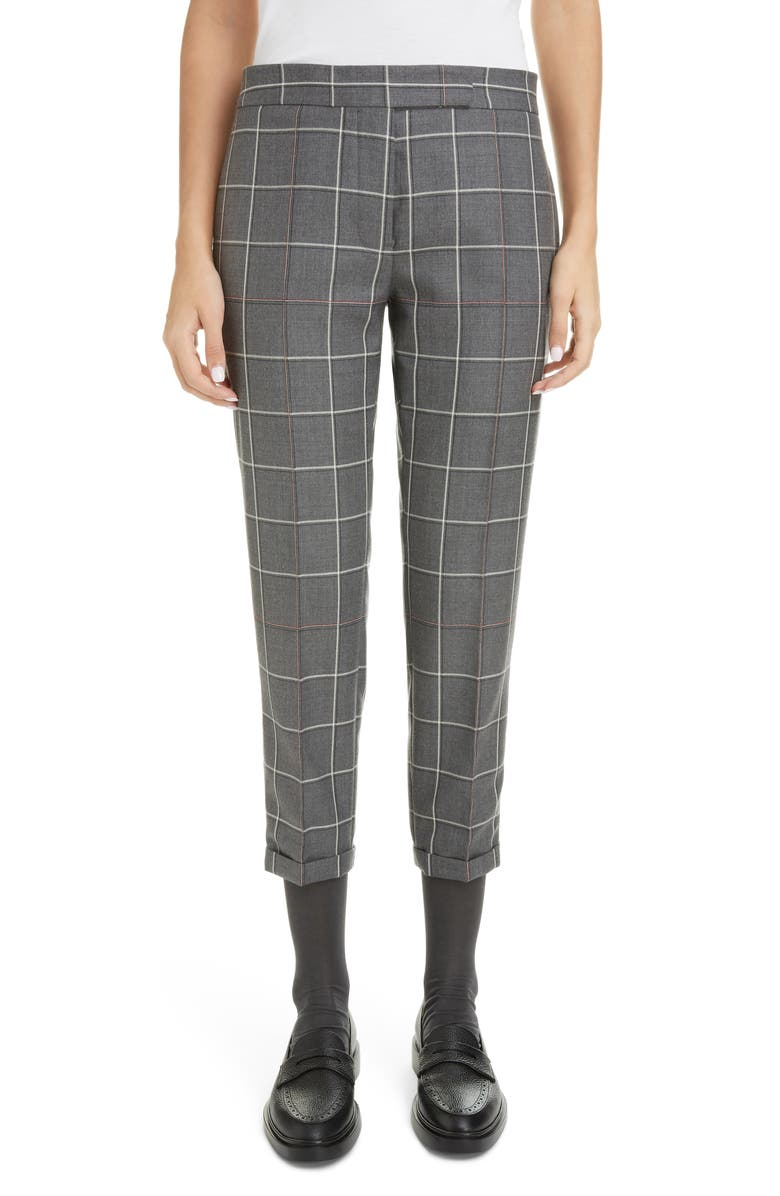 THOM BROWNE Windowpane Check Skinny Trousers, Main, color, MED GREY