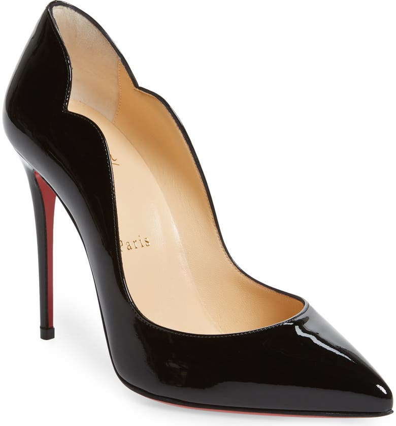 CHRISTIAN LOUBOUTIN Hot Chick Scallop Pump, Main, color, BLACK PATENT