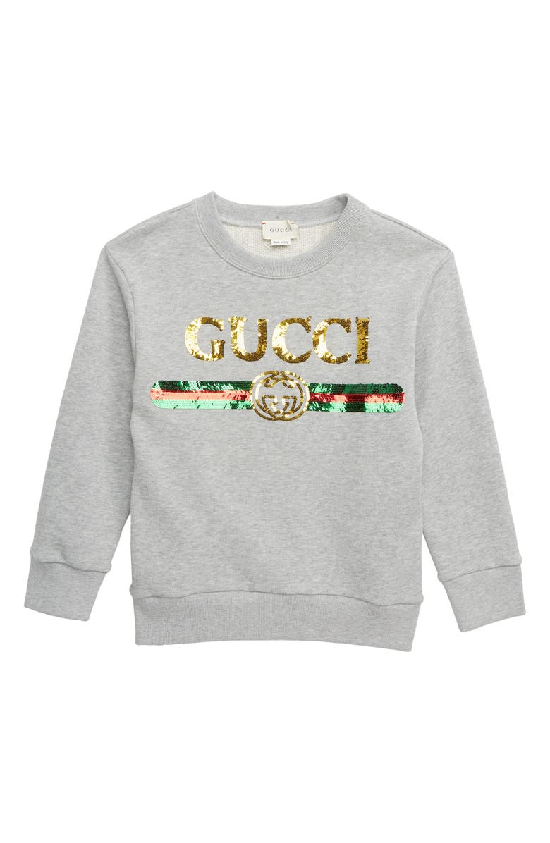 GUCCI Sequin Logo Sweatshirt, Main, color, LIGHT GREY MELANGE