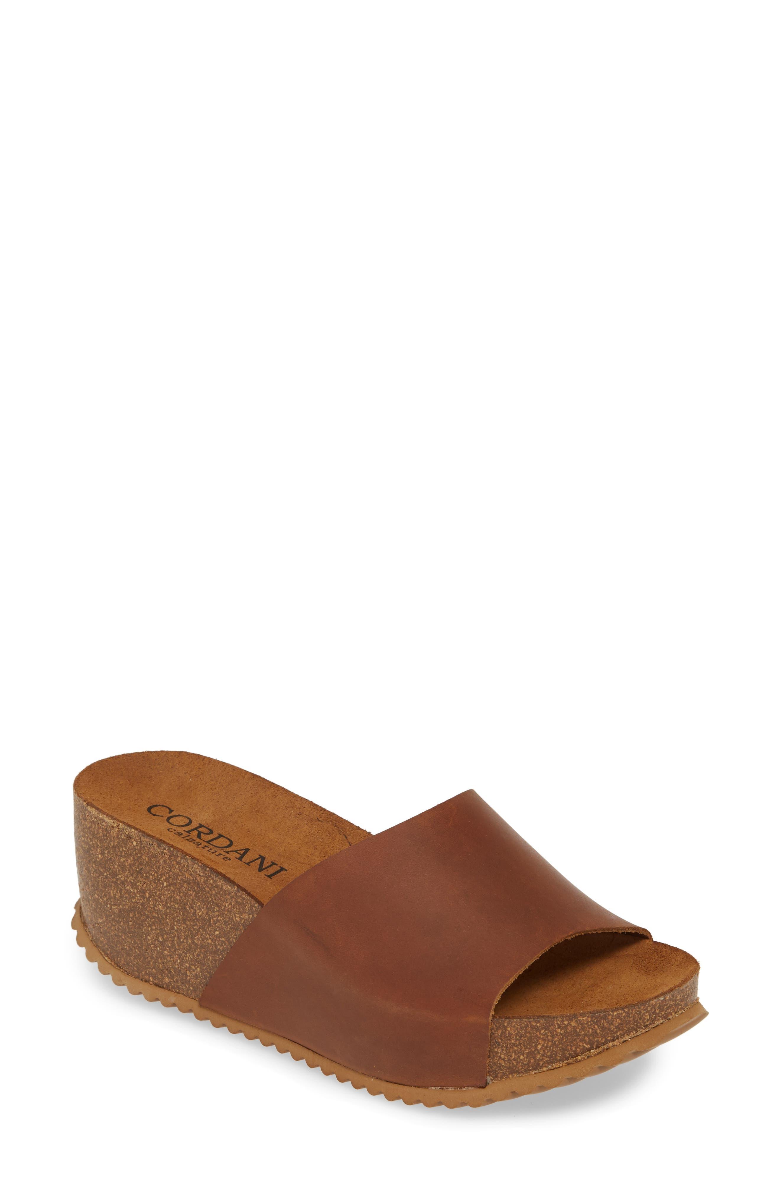 Cordani Margie Wedge Slide Sandal - Brown