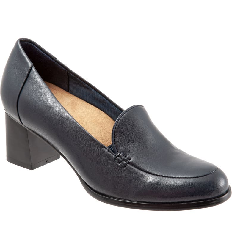 TROTTERS Quincy Loafer Pump, Main, color, NAVY LEATHER