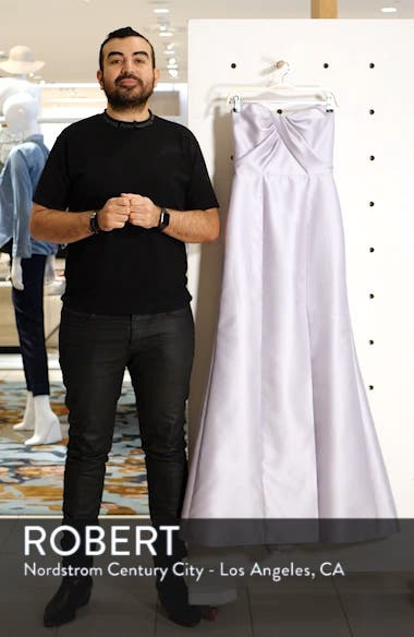 Sateen Twill Strapless Sweetheart Neckline Gown, sales video thumbnail